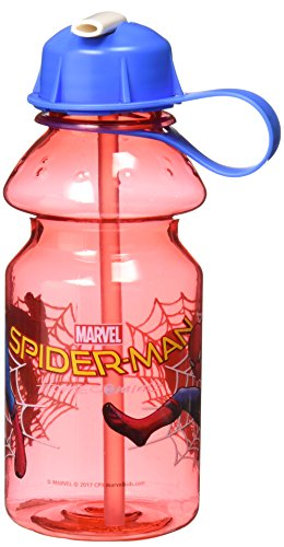 Spider Man Water Bottle - Zak! Designs Tritan Water Bottle with Flip-up Spout featuring Spiderman Homecoming Graphics, Break-resistant and BPA-free plastic, 14 oz.