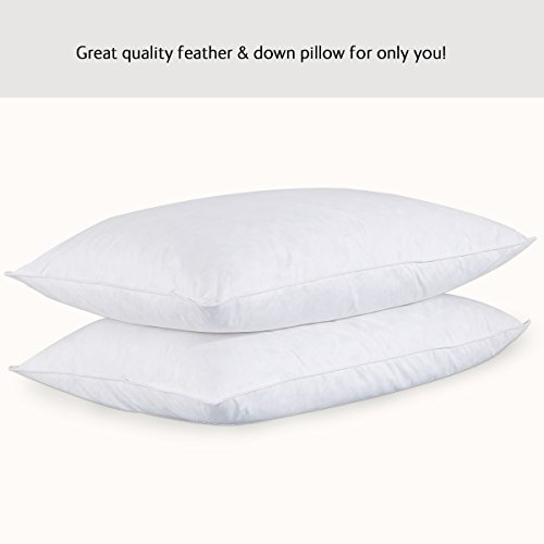 [Set of 2, Goose Feather and Down Pillows, 95% Feather And 5% Down, White, 100% Cotton Cover, King Size (20X36