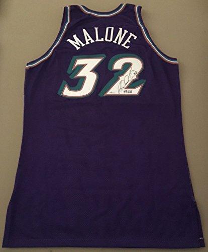 (KARL MALONE Autographed Utah Jazz Champion Authentic Jersey UDA LE 132)