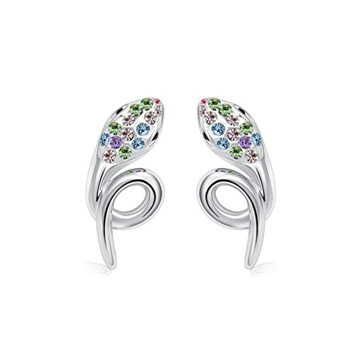 Winter's Secret Silver Diamond Accented Stereoscopic Auspicious Snake Color Crystal Stud Earring (Grooved Ring Seat)