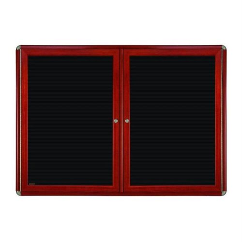 Ovation 2-Door Wood Look Felt Wall Mounted Letter Board, 3' H x 5' W Color: Chrome, Frame Finish: Cherry