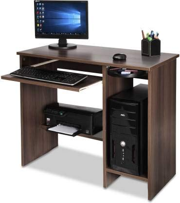 Techno Interio Engineered Wood Computer Desk  Straight, Finish Color   Teak  Desks   Workstations