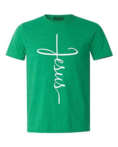 Shop4Ever Jesus Cross T-Shirt X-Large Heather Irish Green0