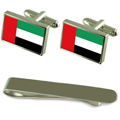 Emirats Arabes Unis Drapeau de manchette en argent gravé Cravate Cadeau