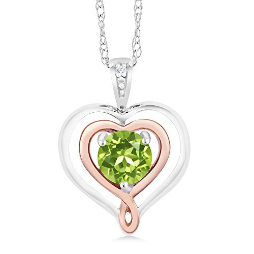 Peridot & Diamond Accent 925 Sterling Silver & 10K Rose Gold Heart Shape Pendant Necklace ()