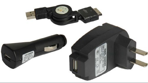 Zune 30GB 4-Piece Value Combo Accessory Bundle Kit: USB Car Charger + USB Travel Charger + USB Data Sync Cable