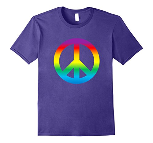1960's Mens Shirt - Mens Rainbow Peace Sign T Shirt Hippy 1960s Large Purple