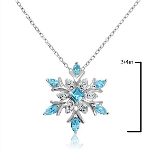 dc1a2c78e7a8c Amanda Rose Collection Sterling Silver Snowflake Pendant-Necklace with Blue  and White SWAROVSKI CRYSTALS
