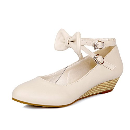 Women's Toe Closed Round WeenFashion Low Soft Material Buckle Beige Pumps Solid Heels Shoes dBwazFxnaq