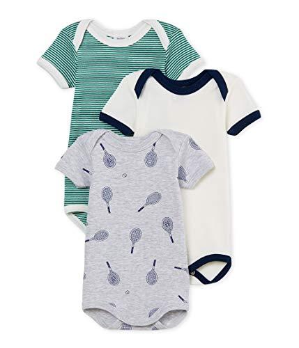 Petit Bateau Baby Boy's Short-Sleeved Bodysuit - Set of 3 Sizes 3/M-36/M Style 46657 (Size 18/M Style 56657 Onesies)