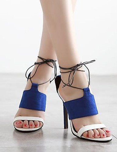 ShangYi Women's Shoes Fleece Stiletto Heel Open Toe Sandals Party & Evening / Dress Black / Blue blue z67Obi