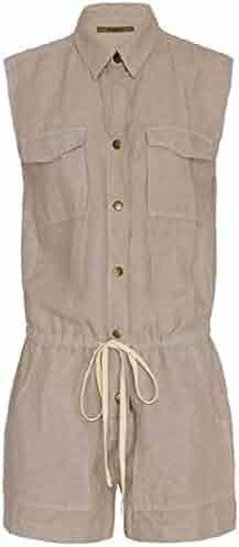 Wsirmet Womens V Neck Long Sleeve Zip-Up Slim fit Hoodied Jumpsuit Romper