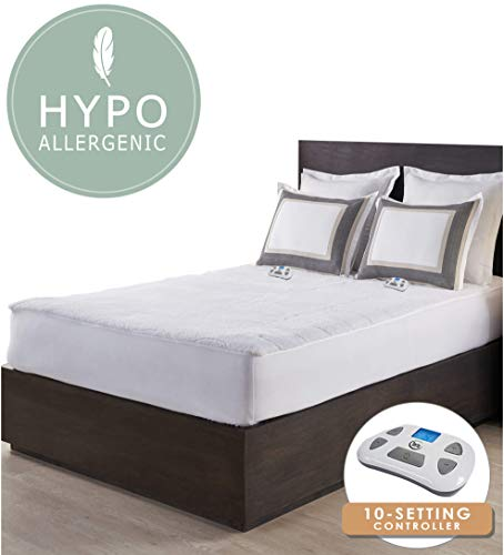 Perfect Fit Serta Sherpa 110 Volt-with 2017 programmable Digital Controller Queen electric-mattress-pads, White (Serta Heated Mattress Pad)