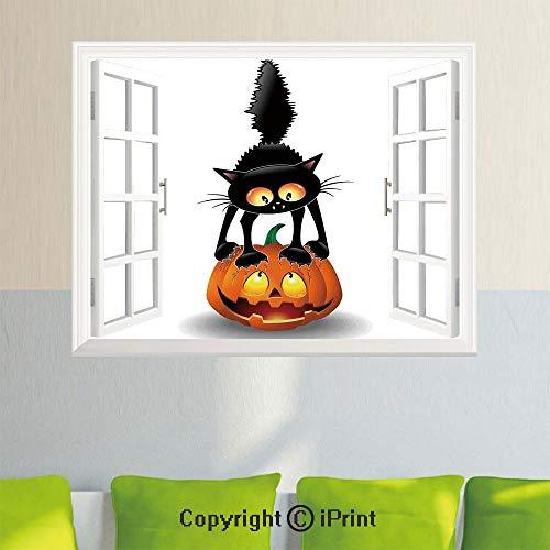 Open Window Wall Decal Sticker,Halloween Decorations,Black Cat on Pumpkin Spooky Cartoon Characters Halloween Humor Art,Orange Black,35.4X 23.6inch,Removable Wall Sticker ()