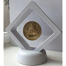 White Diamond Square AA Medallion Challenge Coin Chip Display Stand Holder Magic Suspension Box