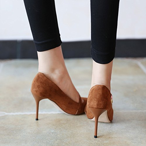 Elegant Spring 9Cm Heels High 36 Suede Career Leisure Caramel Head Shoes Women MDRW Fashion Fine Metal Work Heel Lady Pointed BIqHc75w
