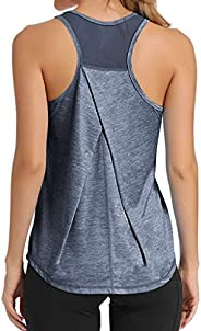 Gillberry Women's Yoga Tank Top Loose Fit Sleeveless Workout Running Shirts Mesh Racerback Tank Gym Clo