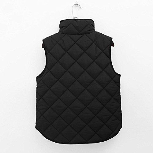Tongshi Las mujeres señora negro bolsillo capa sin mangas chalecos chaqueta Outwear Waistcoat