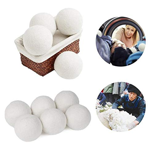 Laundry Balls Discs - 10pcs Pack Premium Organic Wool Dryer Balls Laundry Clean Ball Reusable Natural Fabric Softener - Chemicals Dk22210 Filtering Organic Washing Storage Airer Softener Cleaning ()