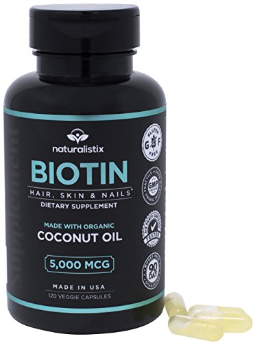 Naturalistix Biotin 5,000 mcg Veggie Capsule; Vitamin B7 for Hair, Skin, Nails Promotes Hair Growth, Healthy Skin, Strong Nails, Reduces Hair Loss; 120 Soft Veggie Capsules; Made In USA. Review