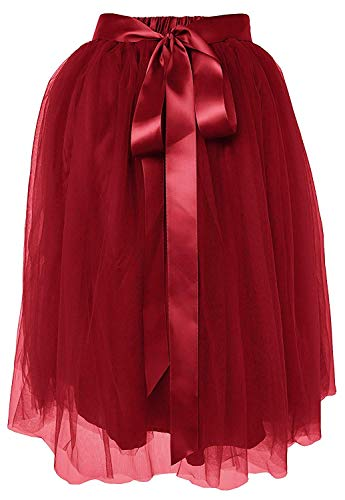 Dancina Girls Knee Length Tutu A line Layered Tulle Skirt 8-13 Years Wine Red -