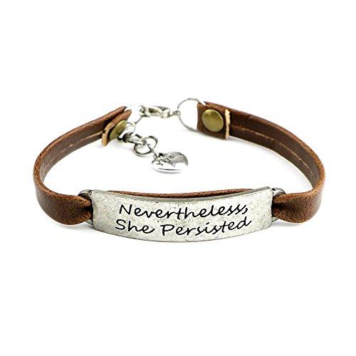 9533e4ad6 Feminist Gift for Her Encouragement Leather Bracelet Popular Saying  Engraved Nevertheless, She Persisted