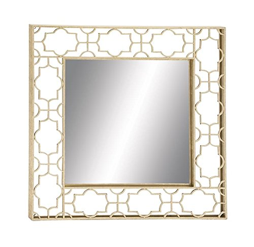 Deco 79 Metal Wall Mirror, 36 by 36-Inch - Color: light gold, onyx black Finish: polished Material: iron metal - bathroom-mirrors, bathroom-accessories, bathroom - 41eBKTlXcwL -
