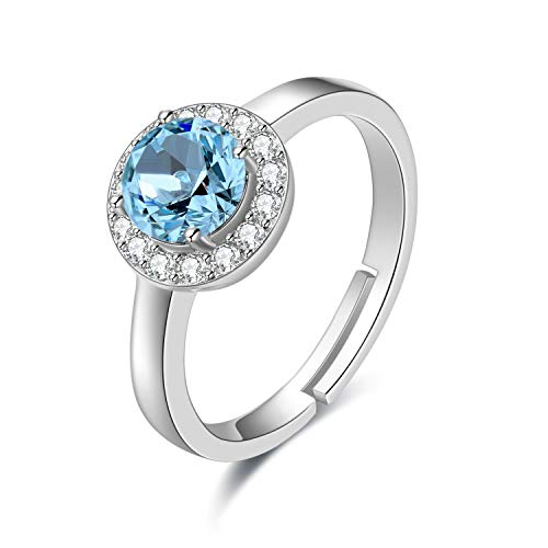 (AOBOCO Sterling Silver Halo Ring White Gold Plated Birthstone Rings with Simulated Aquamarine Swarovski Crystal,Wedding Engagement Gift for Women )