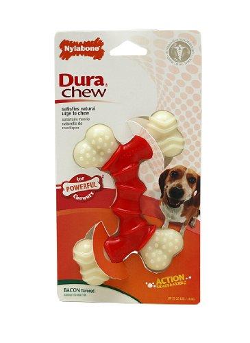 Dura Chew Bacon (Nylabone Dura Chew Wolf Bacon Flavored Double Bone Dog Chew)