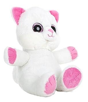 GATO OJOS BRILLANTES - Peluche Gato blanco con ojos brillantes y patas rosas (25cm)