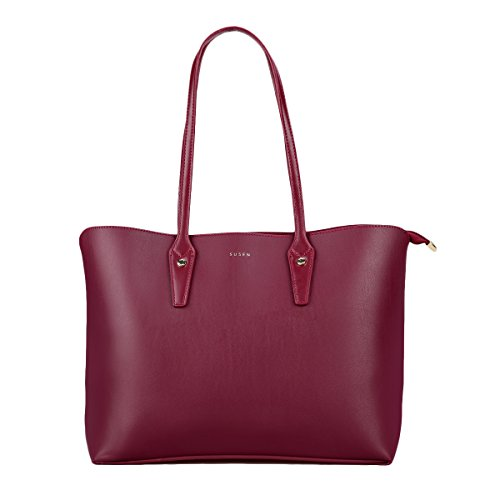 Womens Designer Handbags, SUSEN Perfect Multifunction Work Tote Shoulder Bag Purse for Ladies Girls (Maroon)