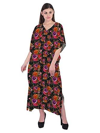 RADANYA Floral Long Maxi Kaftan Dress Cotton Tunic Summer Dresses Caftan for Women Black
