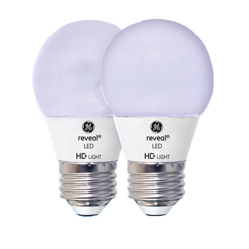 GE Lighting Reveal HD LED  4-watt (40-watt Replacement), 270-Lumen A15 Light Bulb with Medium Base, 2-Pack