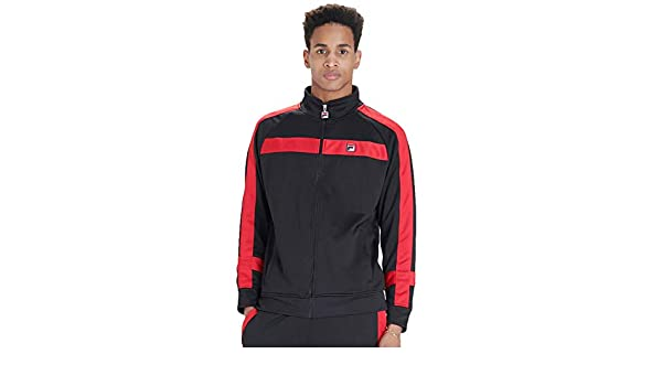 Fila Vintage Renzo Stripe Track Jacket | Black/Chinese Red ...