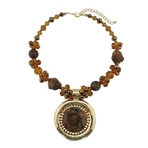 Bocar Chunky Metal Alloy Big Drop Pendant Statement Choker Collar Necklace (NK-10093-brown) ()