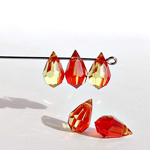 10 pcs Fire Opal Glass Faceted Teardrop Briolette Beads, Top drilled Faceted briolette ()