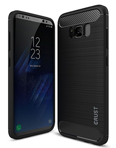 Price comparison product image CRUST CarbonX Brushed Metal Carbon Fiber TPU Back Cover Case For Samsung Galaxy S8 (5.8 Inch), Shock Proof Slim Armor - (Black)