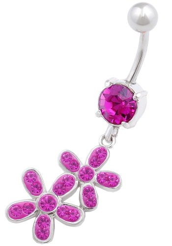 beautiful Flower 18 dangly belly button ring 14g 3/8 stainless steel navel piercing bar body jewelry BFEH