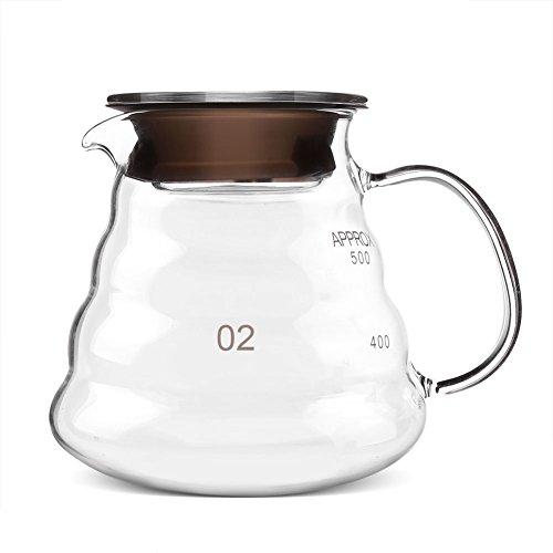 Cafetera de vidrio espesado, Cafetera de goteo manual Resistente al calor Café y té Caldera de café