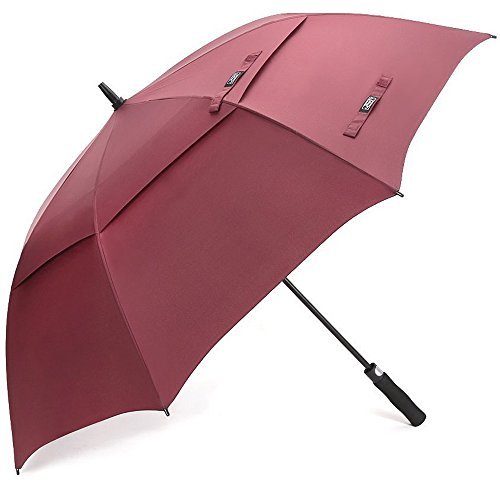 G4Free 68 Inch Automatic Open Golf Umbrella Double Canopy Extra Large Oversize Windproof Waterproof Stick Umbrellas(Wine Red)