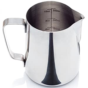 Stainless Steel Milk Frothing Pitcher - with Measurement Markings and Bonus Storage Bag (12 or 20 oz.) - for Espresso Machine, Coffee Milk Frother and Latte Maker