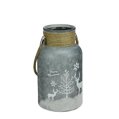 "10"" Silver White Iced Winter Scene Decorative Christmas Pill"