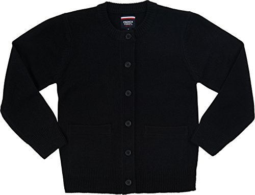 French Toast School Uniform Girls Anti-Pill Crew Neck Cardigan Sweater, Black, Large (10/12)