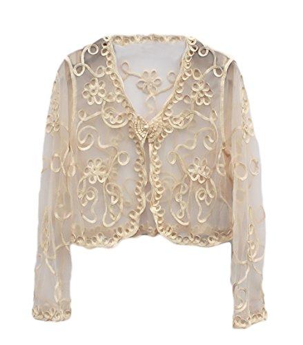 Manica Albicocca Da Jacket Cerimonia Lunga Di Filato Coprispalle Cardigan Pizzo Elegante Trasparente Bolero Top Donna Netto Moda Abbigliamento Tvw0Zq