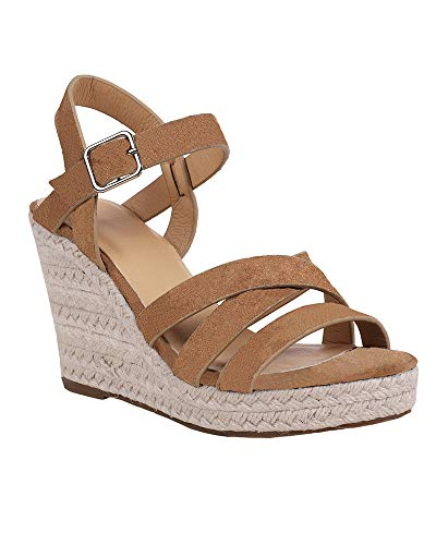 Fashare Womens Espadrilles Wedges Sandals Criss Cross Ankle Strap Open Toe Platform Heels Shoes