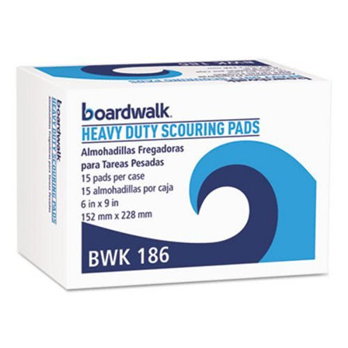 Boardwalk Heavy-Duty Scour Pad, Green, 6 x 9, 15/Carton 54913