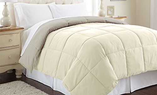 Amrapur Overseas 2DWNCMFG-IAP-KG Down alternative reversible comforter ivory/atmosphere king by Amrapur Overseas