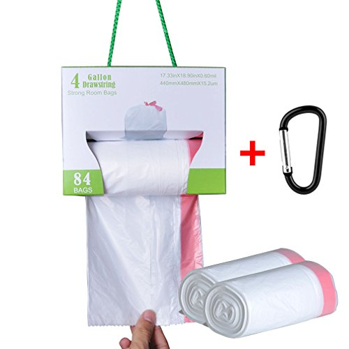 Small Trash Bags, DGEMOC 4 Gallon Trash Bags Drawstring For Bathroom, Office, Car And Room, 0.6mil, 15-16 Liter, 84 Count, (15l String)