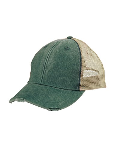 - Adams 6-Panel Pigment-Dyed Distressed Trucker Cap OS Forest/Tan