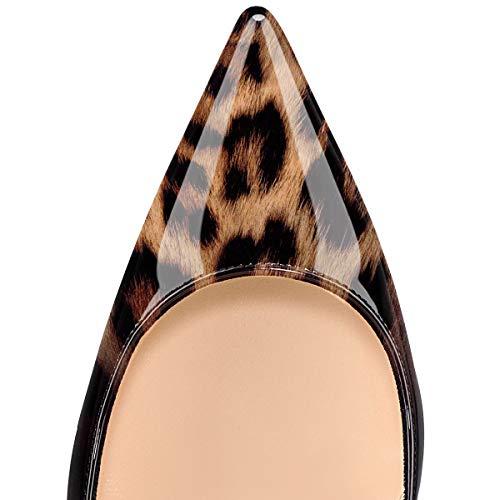 noir Fête 10cm Chaussures Talon Sexy Elashe Soir Aiguille Stiletto Femme Léopard Escarpins x8wwPB